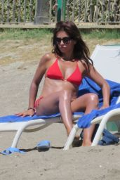 Monica Cruz in Red Bikini on the Beach in Marbella 07/05/2017