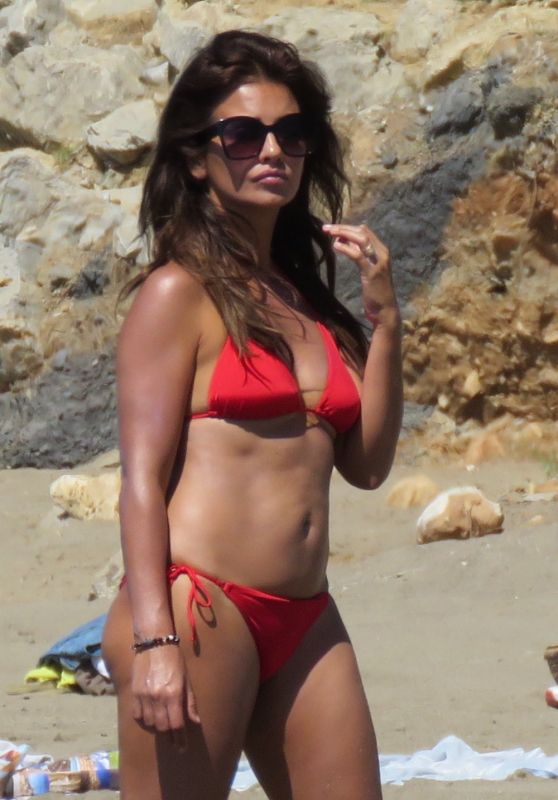 Monica Cruz in Red Bikini on the Beach in Marbella 07/05/2017