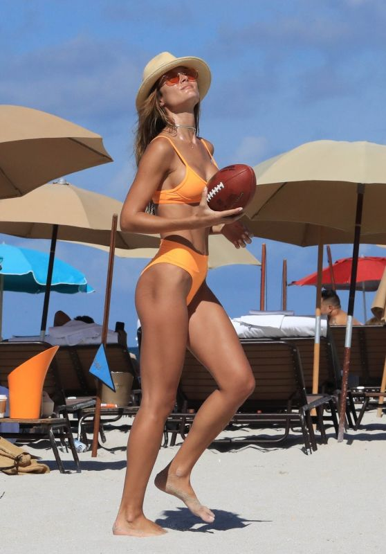 Natalia Borges in an Orange Bikini in Miami 07/01/2017