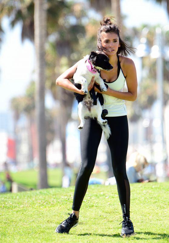 Nina Dobrev - With Her Puppy Maverick at a Local Park in LA 07/05/2017