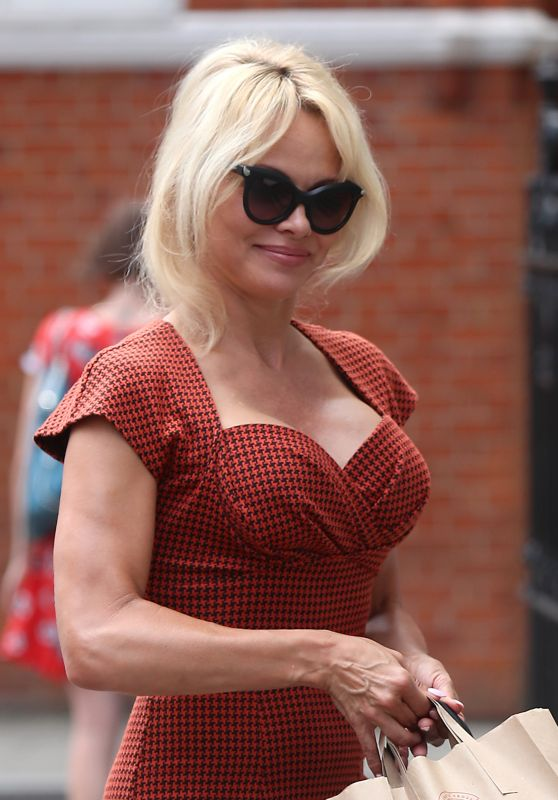 Pamela Anderson - Taking a Vegan Lunch to Her Friend Julian Assange at the Ecuadorian Embassy in London 07/06/2017