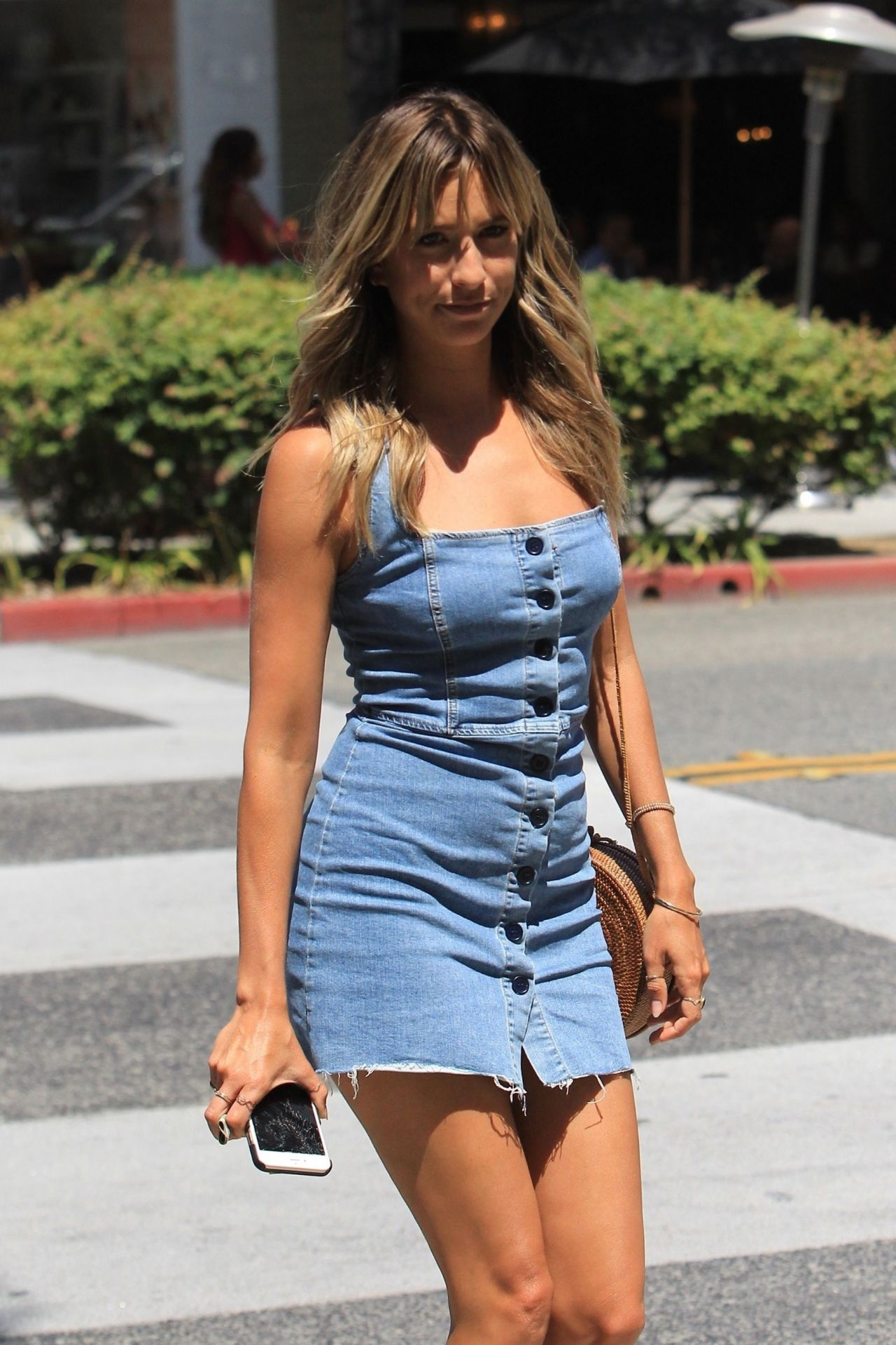 Renee Bargh In Jeans Mini Dress Out In Beverly Hills 07