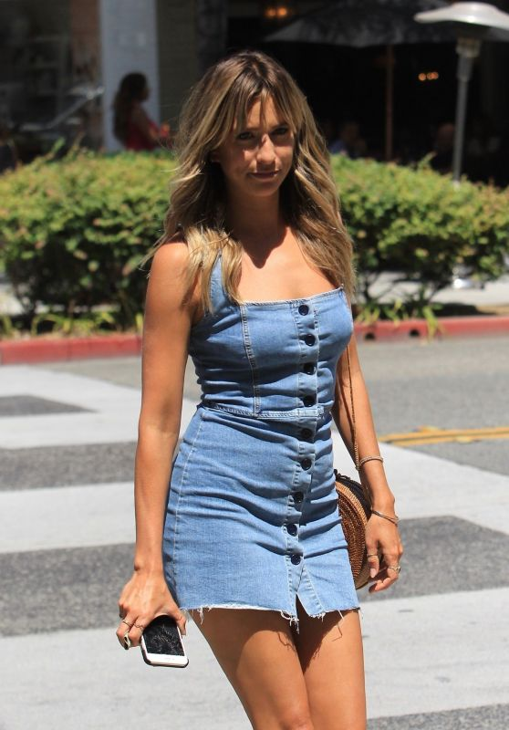 Renee Bargh in Jeans Mini Dress - Out in Beverly Hills 07/28/2017