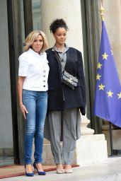 Rihanna and Brigitte Macron at the Elysee Palace in Paris 07/26/2017