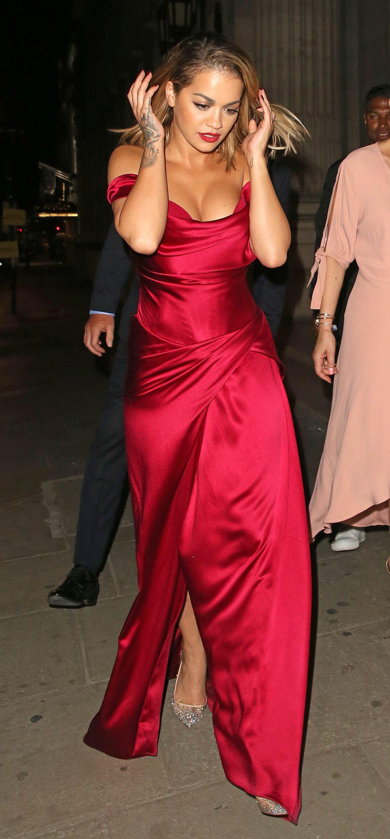 Rita Ora In Red Dress Cartier Event At Freemasons Hall