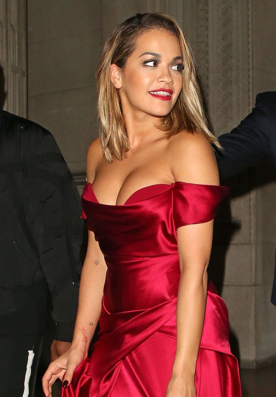 Rita Ora in Red Dress - Cartier Event at Freemasons Hall in London 07/10/2017
