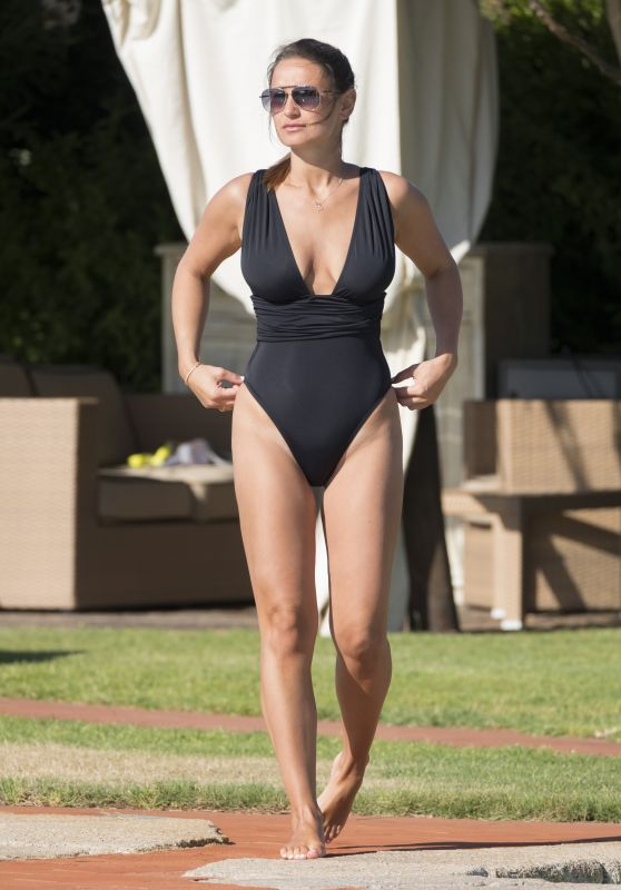 Sam Faiers in a Black Swimsuit - Holiday in Italy, June 2017