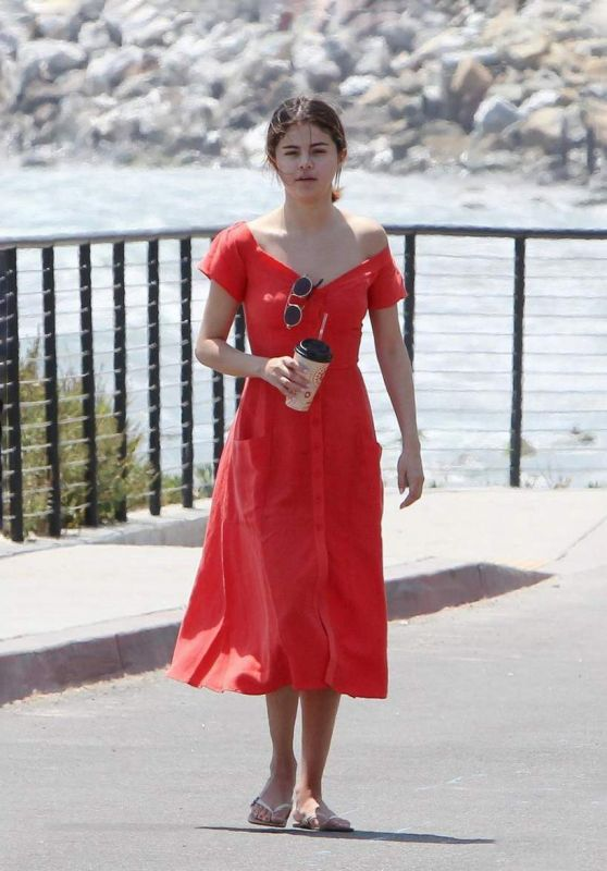 Selena Gomez in Red Dress - Going for a Walk in Malibu 07/11/2017
