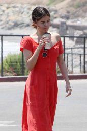 Selena Gomez in Red Dress - Going for a Walk in Malibu 07/11/2017