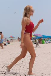 Shea Marie in a Red One Piece Swimsuit at the Beach in Miami 07/26/2017