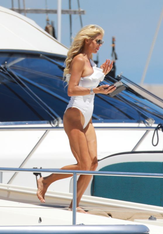 Victoria Silvstedt in White Swimsuit - Enjoy Holidays in Saint Tropez 07/02/2017