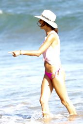 Alessandra Ambrosio in a Pink Bikini at the Beach in Malibu 08/09/2017