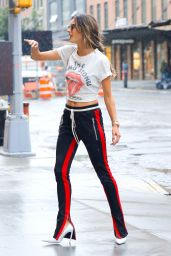 Alessandra Ambrosio in Rolling Stones Crop Top - NYC 08/29/2017