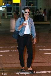 Alessandra Ambrosio in Travel Outfit - JFK airport in New York 08/28/2017