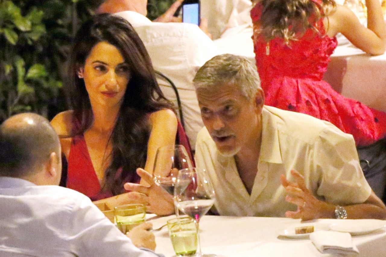 Amal clooney and george clooney candlelight dinner at le darsene in bellagio italy - 2019 year
