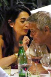 "Amal Clooney and George Clooney - Candlelight Dinner at ""Le Darsene"" in Bellagio, Italy 08/22/2017"