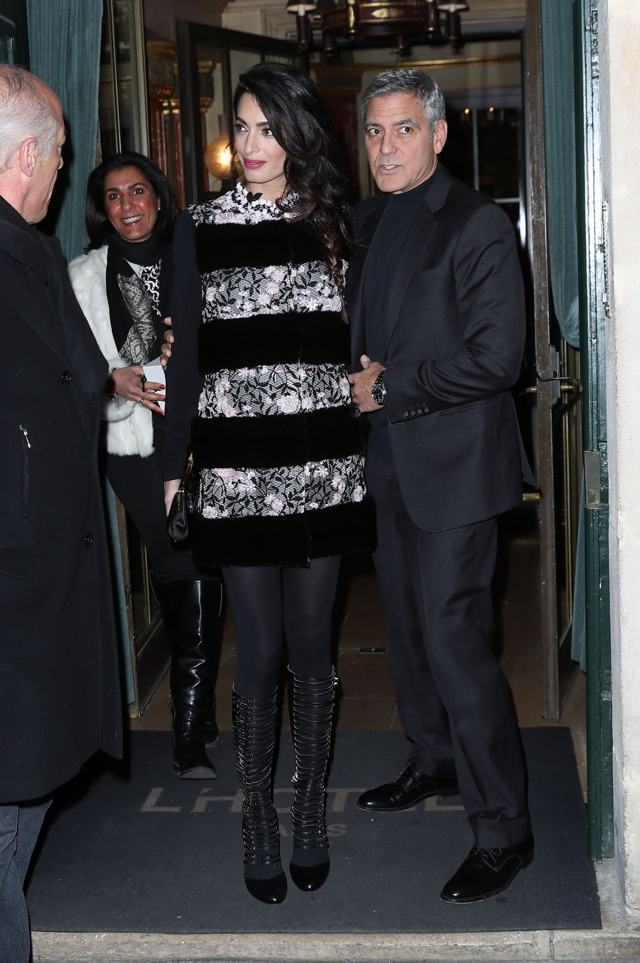 Amal Clooney And George Clooney Leaving Their Hotel To