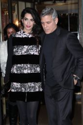 Amal Clooney and George Clooney - Leaving Their Hotel to go to Dinner to Laperouse Restaurant in Paris