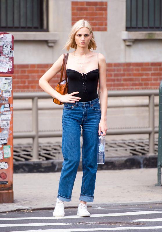 Andreja Pejic Street Style - East Village in New York City 08/03/2017