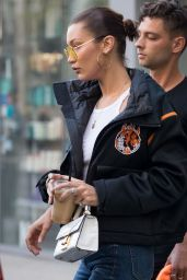 Bella Hadid - Go to the Bang Bang Tattoo Shop to Get a Tattoo on Her Left Arm, NYC 07/31/2017