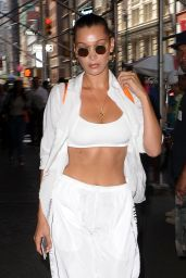 Bella Hadid in a White Tracksuit - NYC 08/24/2017