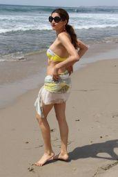 Blanca Blanco in a Yellow Bikini - Photoshoot on the Beach in Malibu 08/16/2017