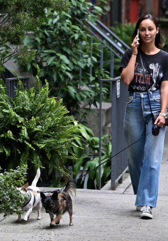 Cara Santana - Walking With Her Dogs in the Bowery in NYC 08/02/2017