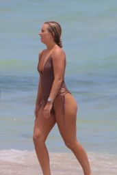 Cecilie Nordahl in a One Piece Swimsuit at the Beach in Miami Beach 08/09/2017