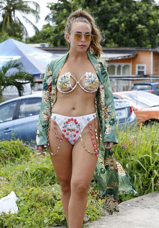 Chloe Green and Jeremy Meeks at Carnival Day in Barbados 08/07/2017