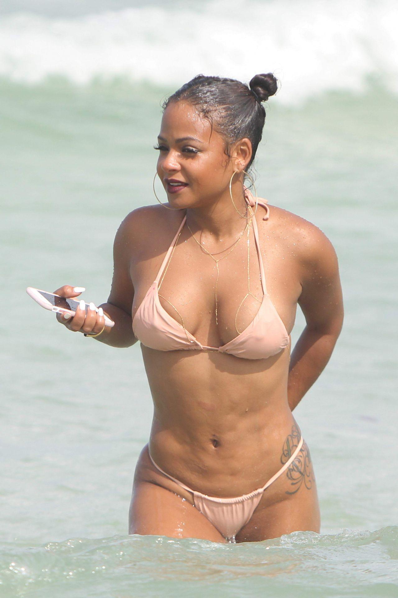 Christina milian sexy beach bikini selfie vid 10