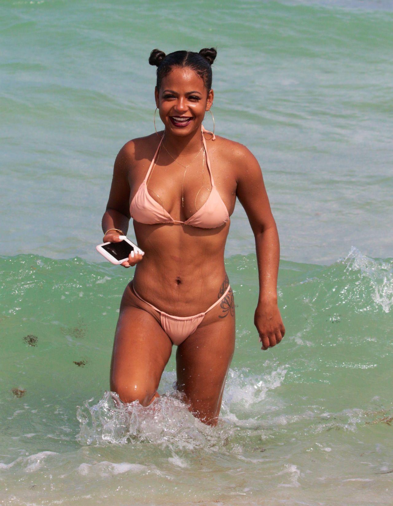 Christina milian sexy beach bikini selfie vid 8