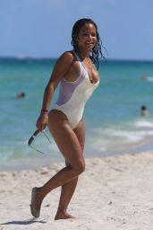 Christina Milian Hot in One Piece Swimsuit - Miami 08/21/2017