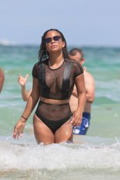 Christina Milian Shows Off Her Body - Beach in Miami 08/19/2017
