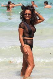 Christina Milian Shows Off Her Body - Beach in Miami 08/19/2017