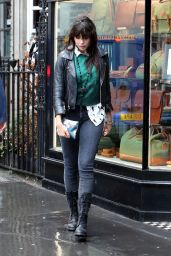Daisy Lowe - Shopping on a Rainy Day in London 08/31/2017