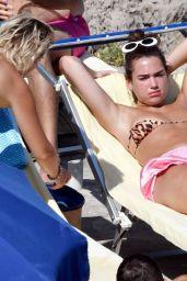 Dua Lipa in Bikini Top - Sunbathing on Summer Holiday in Capri 08/29/2017