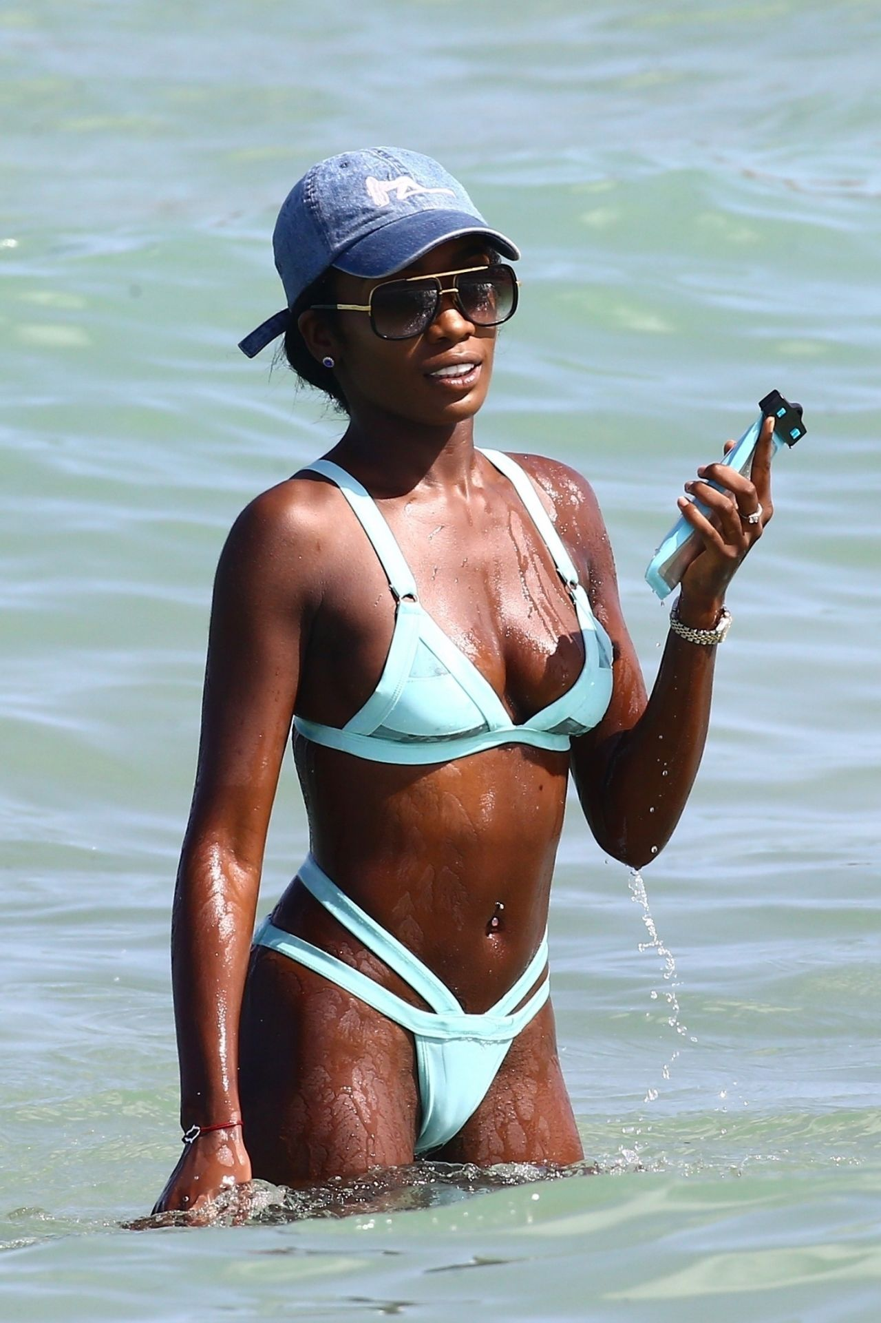 Ebony London In A Baby Blue Bikini And A Denim Cap Miami