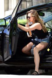 Elizabeth Olsen in Jeans Shorts - Arriving to a Dinner Party in LA 08/22/2017