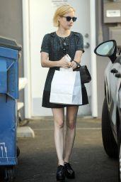 Emma Roberts in a Flower Printed Dress - Big Sugar Bake Shop in LA 08/29/2017