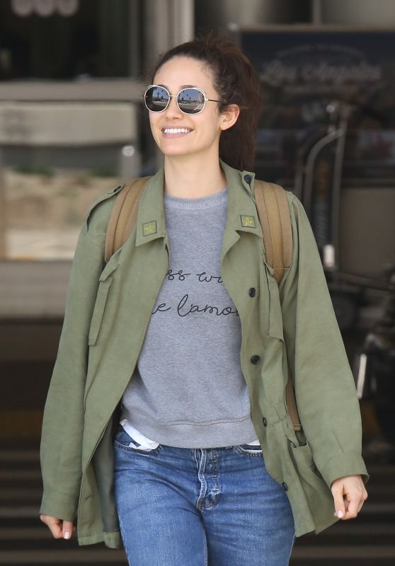Emmy Rossum in Travel Outfit - LAX in LA 08/05/2017