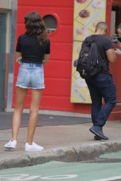 Georgia Fowler Leggy in Jeans Shorts - SoHo in New York08/14/2017