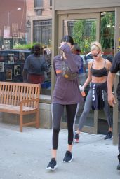 Hailey Baldwin - Leaving the Gotham Gym with Kendall Jenner in NY 08/01/2017
