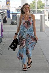 Heidi Klum in a Blue Summer Floral Dress - JFK Airport in New York 08/21/2017