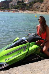 Imogen Thomas in a Red Swimsuit in Spain 07/28/2017