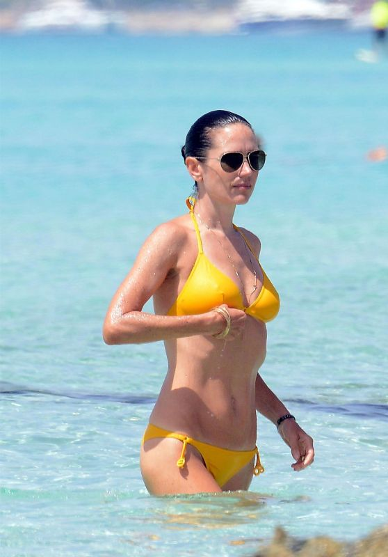 Jennifer Connelly in a Yellow Bikini - Beach in Formentera, Spain, August 2017
