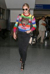 Kate Upton in Colored Gucci Sweater - LAX in LA 08/22/2017