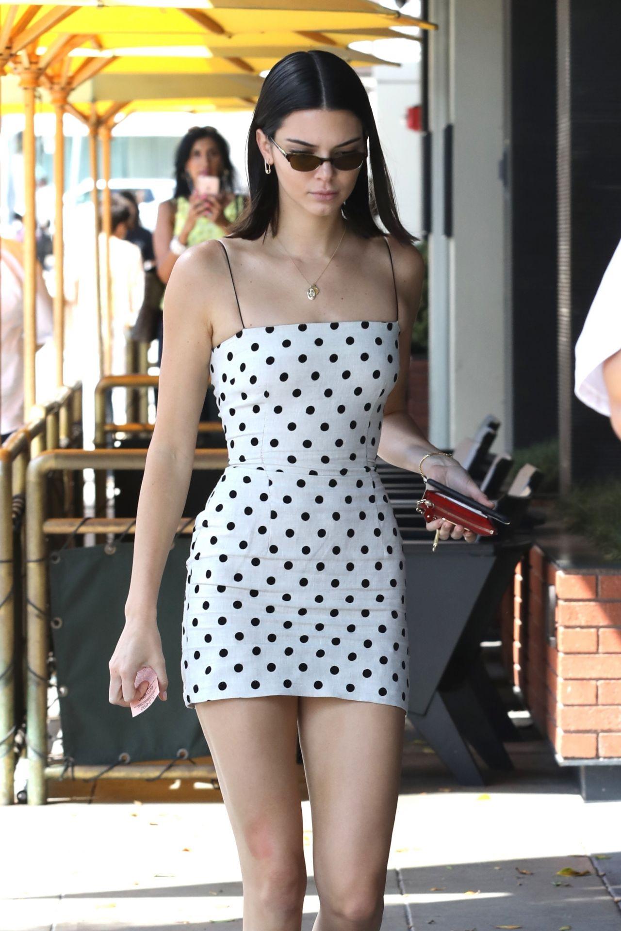 Kendall Jenner In Black And White Polka Dot Dress