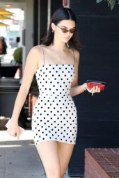 Kendall Jenner in Black and White Polka Dot Dress - Beverly Hills 08/23/2017