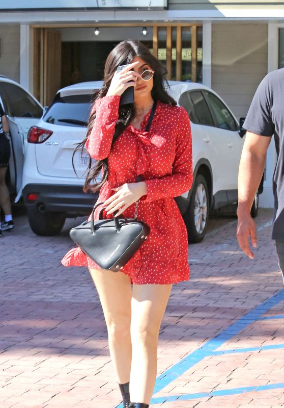 Kylie Jenner in Red Mini Dress - Lunch in Studio City, CA 08/14/2017