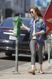 Lily Collins in Leggings - Beverly Hills 08/30/2017